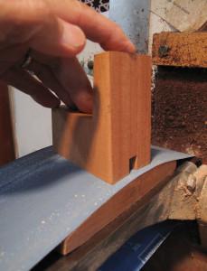 sanding heelblock to mate with box